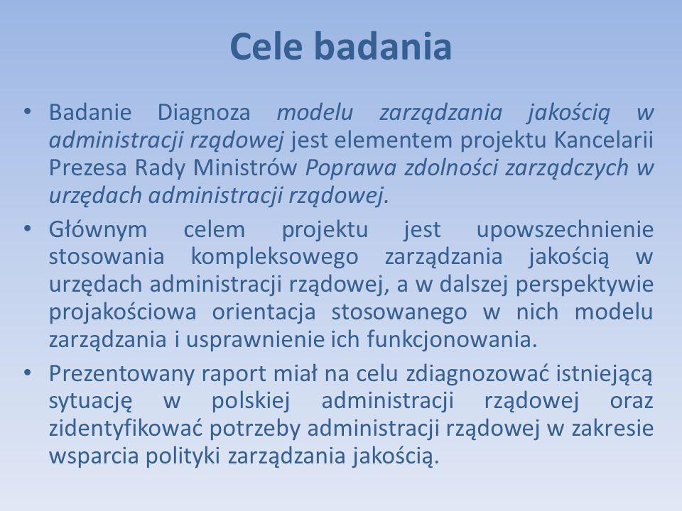 Cele badania Badanie Diagnoza modelu zarządzania jakością w administracji rządowej jest elementem projektu Kancelarii Prezesa Rady Ministrów Poprawa zdolności zarządczych w urzędach administracji rządowej.