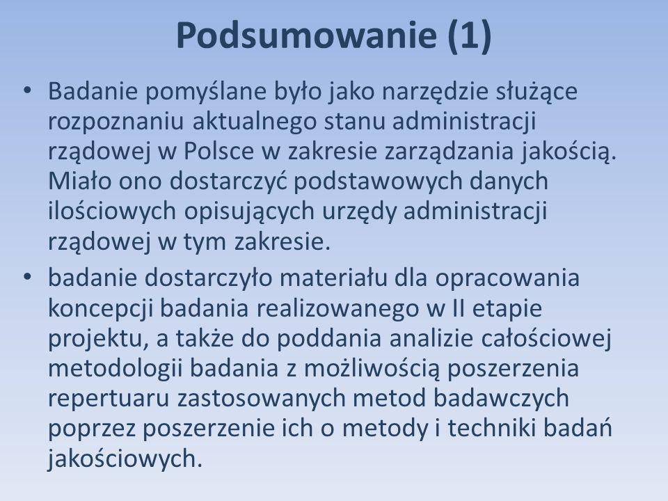 Podsumowanie (1) Badanie pomyślane było jako narzędzie służące rozpoznaniu aktualnego stanu administracji rządowej w Polsce w zakresie zarządzania jakością.