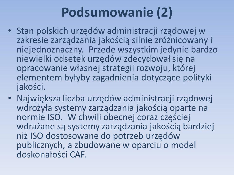 Podsumowanie (2) Stan polskich urzędów administracji rządowej w zakresie zarządzania jakością silnie zróżnicowany i niejednoznaczny.