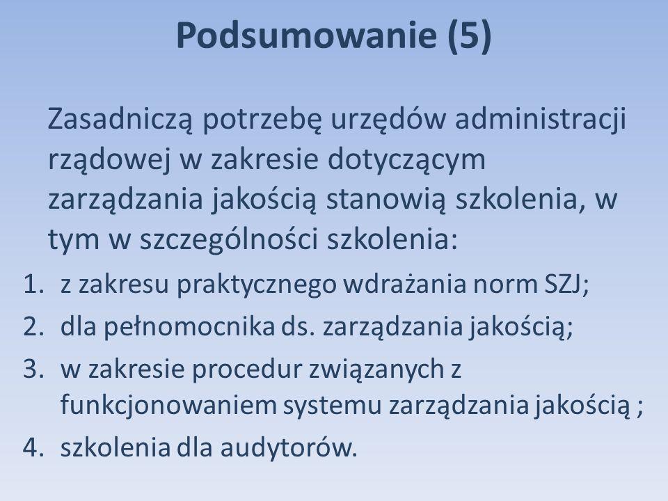 Podsumowanie (5) Zasadniczą potrzebę urzędów administracji rządowej w zakresie dotyczącym zarządzania jakością stanowią szkolenia, w tym w szczególności szkolenia: 1.z zakresu praktycznego wdrażania norm SZJ; 2.dla pełnomocnika ds.
