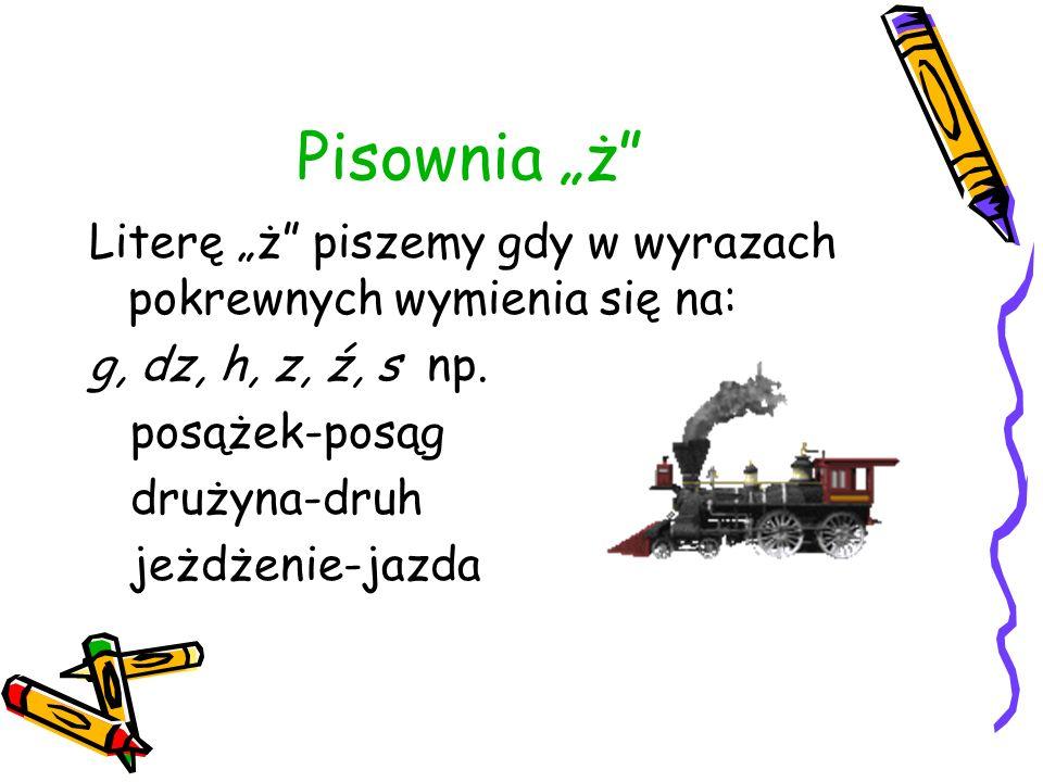 Pisownia ż Literę ż piszemy gdy w wyrazach pokrewnych wymienia się na: g, dz, h, z, ź, s np. posążek-posąg drużyna-druh jeżdżenie-jazda