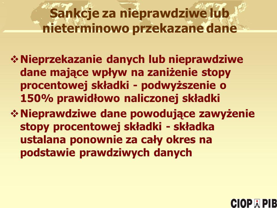 Sankcje za nieprawdziwe lub nieterminowo przekazane dane Nieprzekazanie danych lub nieprawdziwe dane mające wpływ na zaniżenie stopy procentowej skład