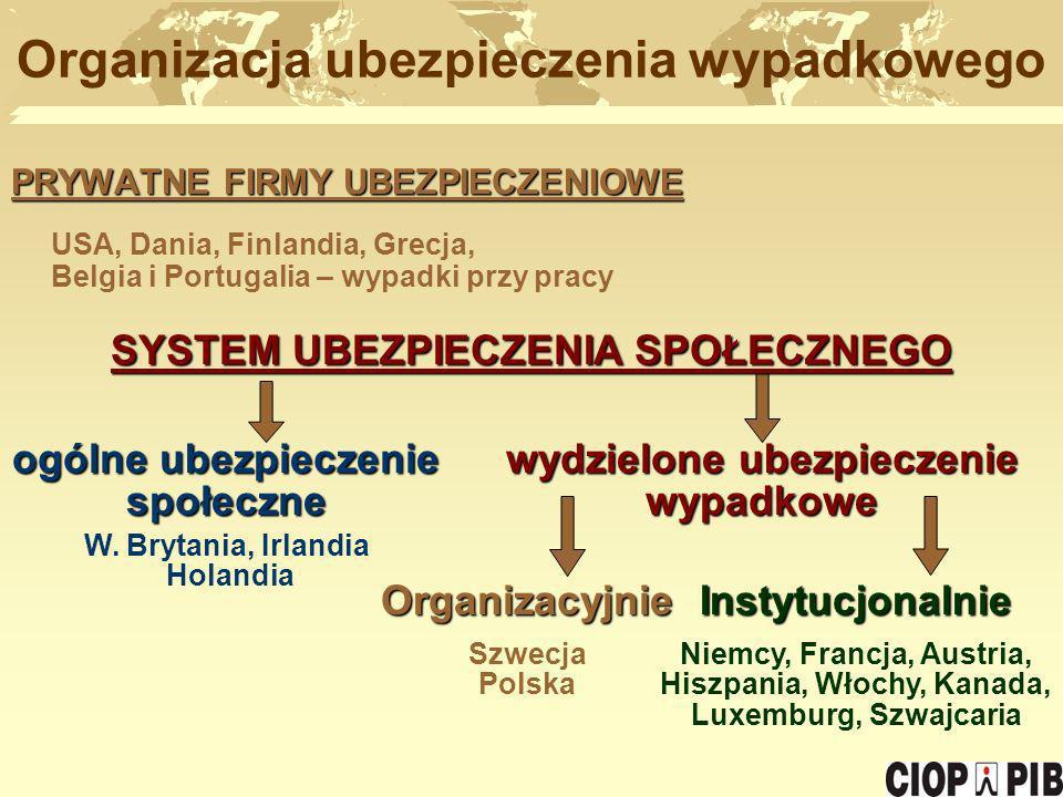 PRYWATNE FIRMY UBEZPIECZENIOWE USA, Dania, Finlandia, Grecja, Belgia i Portugalia – wypadki przy pracy Organizacja ubezpieczenia wypadkowego ogólne ub