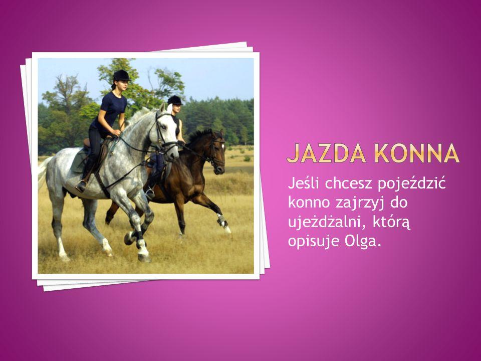 Jeśli chcesz pojeździć konno zajrzyj do ujeżdżalni, którą opisuje Olga.