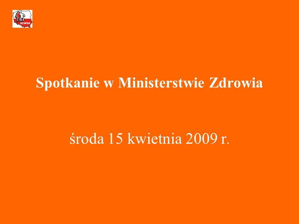 Spotkanie w Ministerstwie Zdrowia środa 15 kwietnia 2009 r.