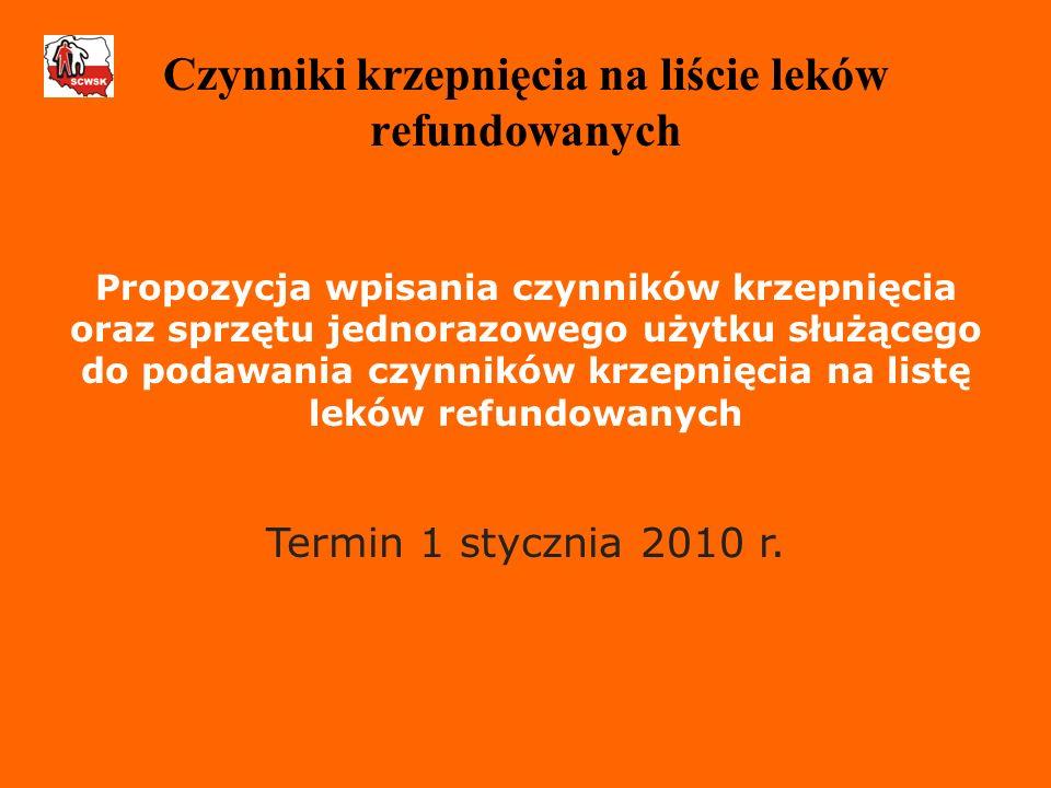 Propozycja wpisania czynników krzepnięcia oraz sprzętu jednorazowego użytku służącego do podawania czynników krzepnięcia na listę leków refundowanych Termin 1 stycznia 2010 r.