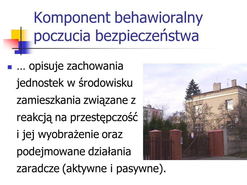 Komponent behawioralny poczucia bezpieczeństwa … opisuje zachowania jednostek w środowisku zamieszkania związane z reakcją na przestępczość i jej wyob