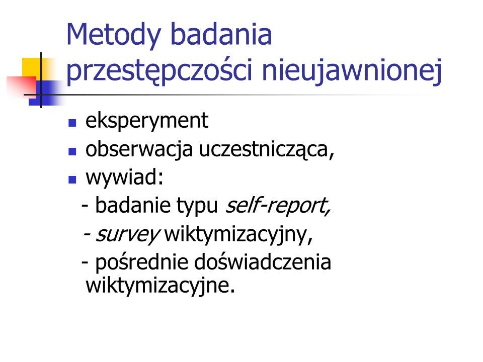 Metody badania przestępczości nieujawnionej eksperyment obserwacja uczestnicząca, wywiad: - badanie typu self-report, - survey wiktymizacyjny, - pośre