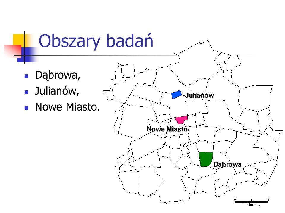 Obszary badań Dąbrowa, Julianów, Nowe Miasto.