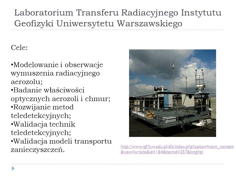 Laboratorium Transferu Radiacyjnego Instytutu Geofizyki Uniwersytetu Warszawskiego http://www.igf.fuw.edu.pl/zfa/index.php?option=com_content &view=article&id=184&Itemid=257&lang=pl Cele: Modelowanie i obserwacje wymuszenia radiacyjnego aerozolu; Badanie właściwości optycznych aerozoli i chmur; Rozwijanie metod teledetekcyjnych; Walidacja technik teledetekcyjnych; Walidacja modeli transportu zanieczyszczeń.