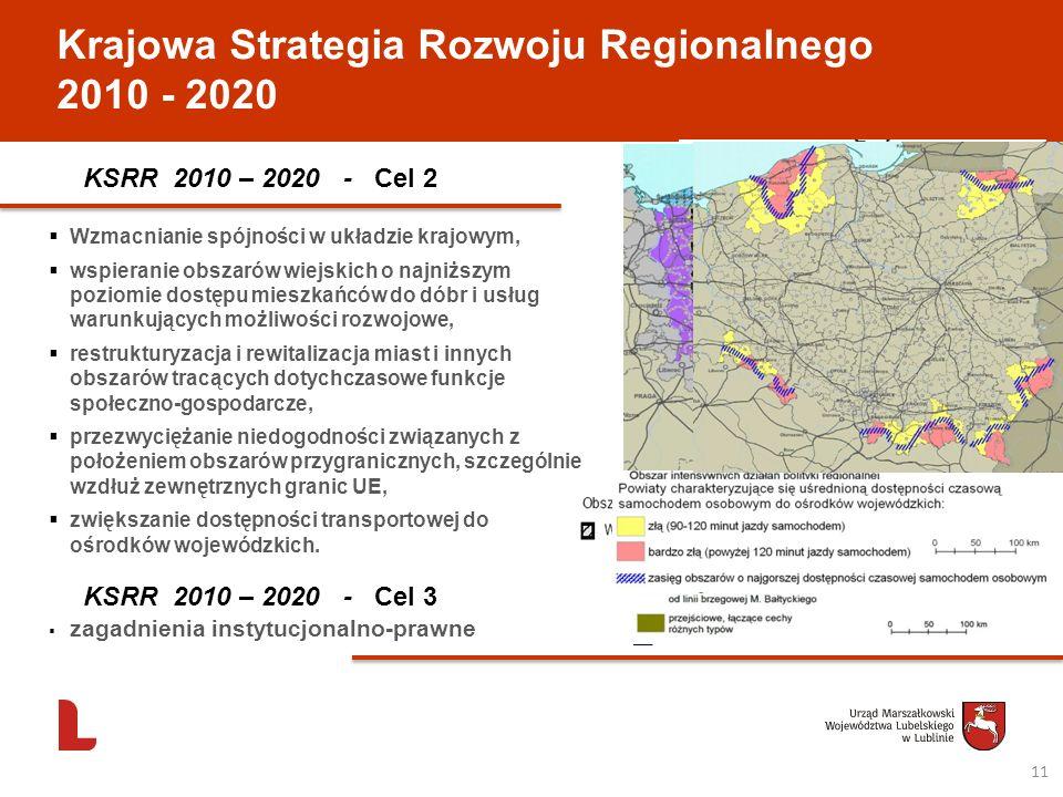 Krajowa Strategia Rozwoju Regionalnego 2010 - 2020 KSRR 2010 – 2020 - Cel 2 Wzmacnianie spójności w układzie krajowym, wspieranie obszarów wiejskich o