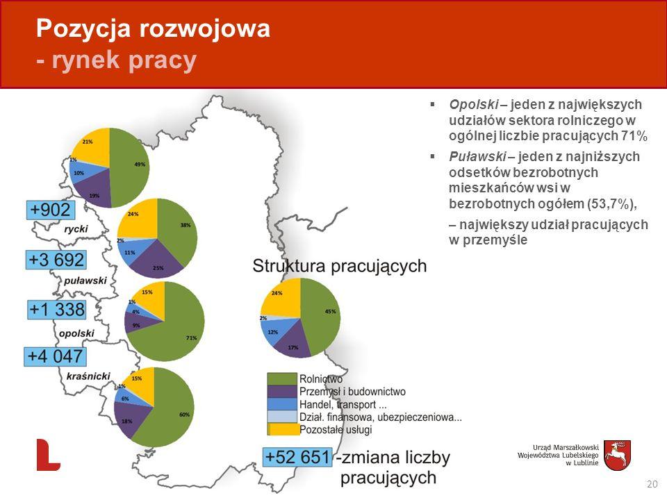 Pozycja rozwojowa - rynek pracy 20 Opolski – jeden z największych udziałów sektora rolniczego w ogólnej liczbie pracujących 71% Puławski – jeden z naj