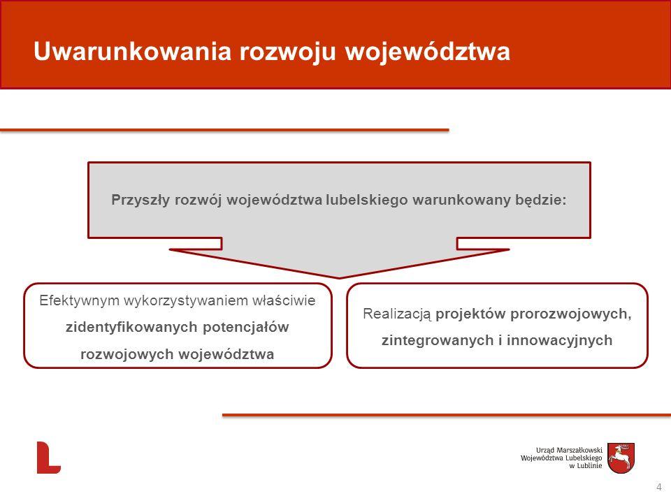 Przyszły rozwój województwa lubelskiego warunkowany będzie: Efektywnym wykorzystywaniem właściwie zidentyfikowanych potencjałów rozwojowych województw