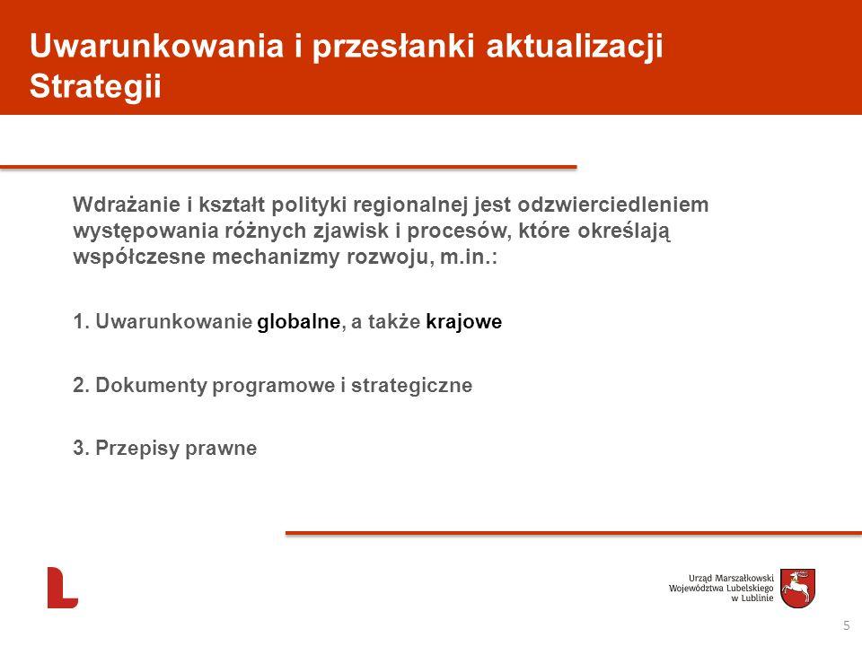 Uwarunkowania i przesłanki aktualizacji Strategii Wdrażanie i kształt polityki regionalnej jest odzwierciedleniem występowania różnych zjawisk i proce