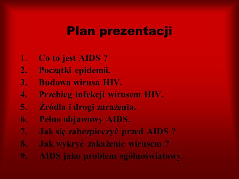 Plan prezentacji 1. Co to jest AIDS ? 2. Początki epidemii. 3. Budowa wirusa HIV. 4. Przebieg infekcji wirusem HIV. 5. Źródła i drogi zarażenia. 6. Pe
