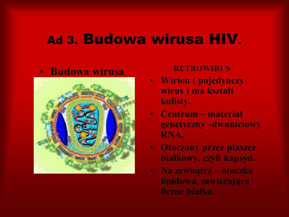 Ad 3. Budowa wirusa HIV. Budowa wirusa –RETROWIRUS Wirion ( pojedynczy wirus ) ma kształt kulisty. Centrum – materiał genetyczny -dwuniciowy RNA. Otoc