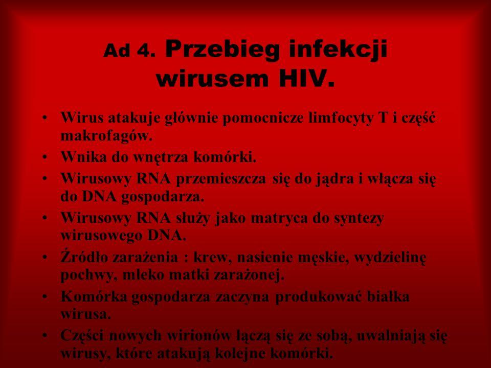 Ad 4. Przebieg infekcji wirusem HIV. Wirus atakuje głównie pomocnicze limfocyty T i część makrofagów. Wnika do wnętrza komórki. Wirusowy RNA przemiesz