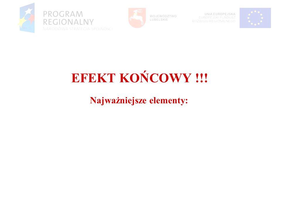 EFEKT KOŃCOWY !!! Najważniejsze elementy: