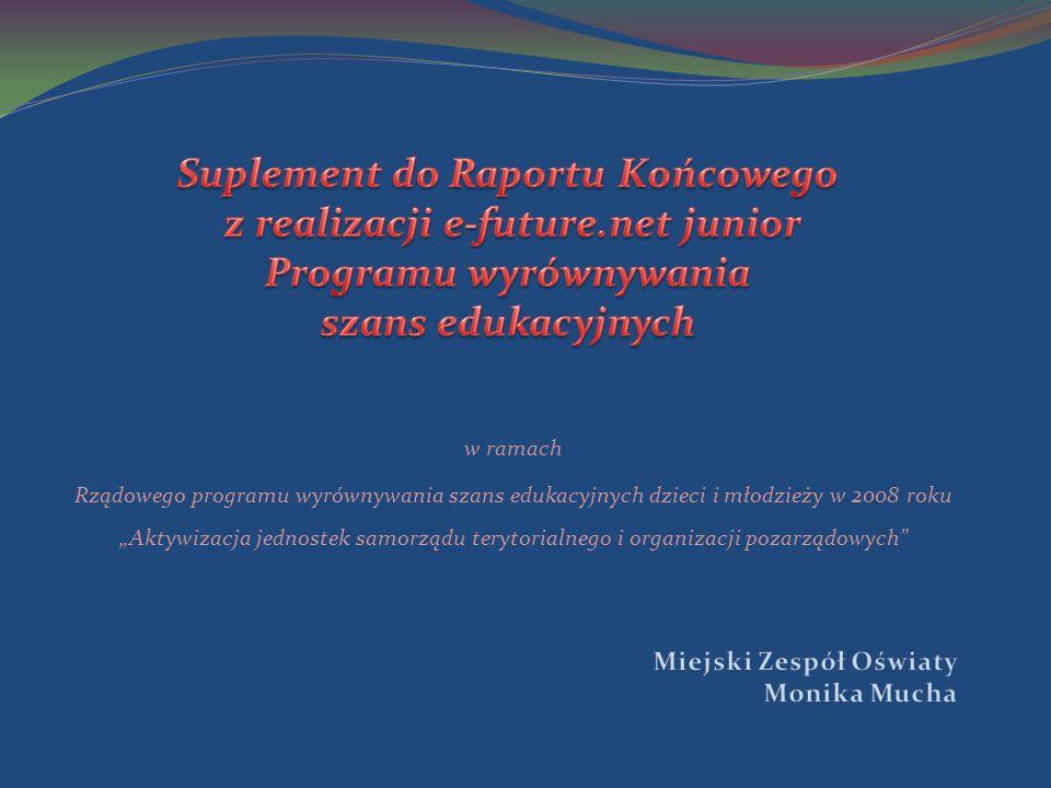 w ramach Rządowego programu wyrównywania szans edukacyjnych dzieci i młodzieży w 2008 roku Aktywizacja jednostek samorządu terytorialnego i organizacji pozarządowych