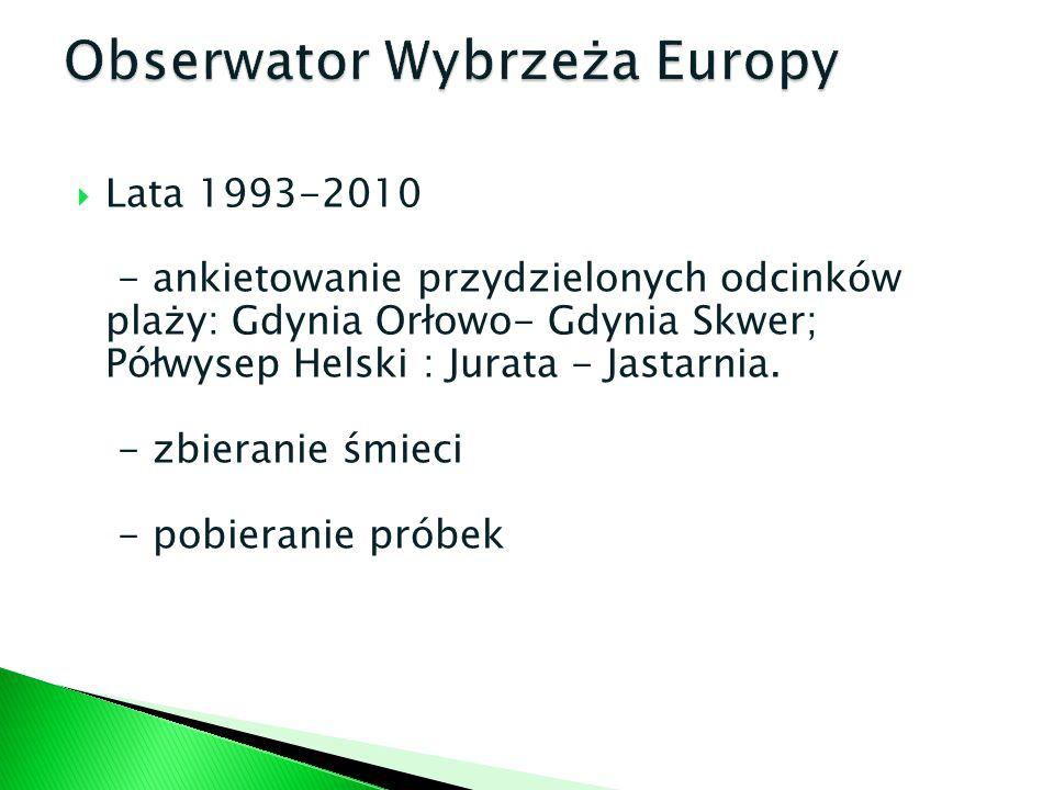 Lata 1993-2010 - ankietowanie przydzielonych odcinków plaży: Gdynia Orłowo- Gdynia Skwer; Półwysep Helski : Jurata - Jastarnia. - zbieranie śmieci - p