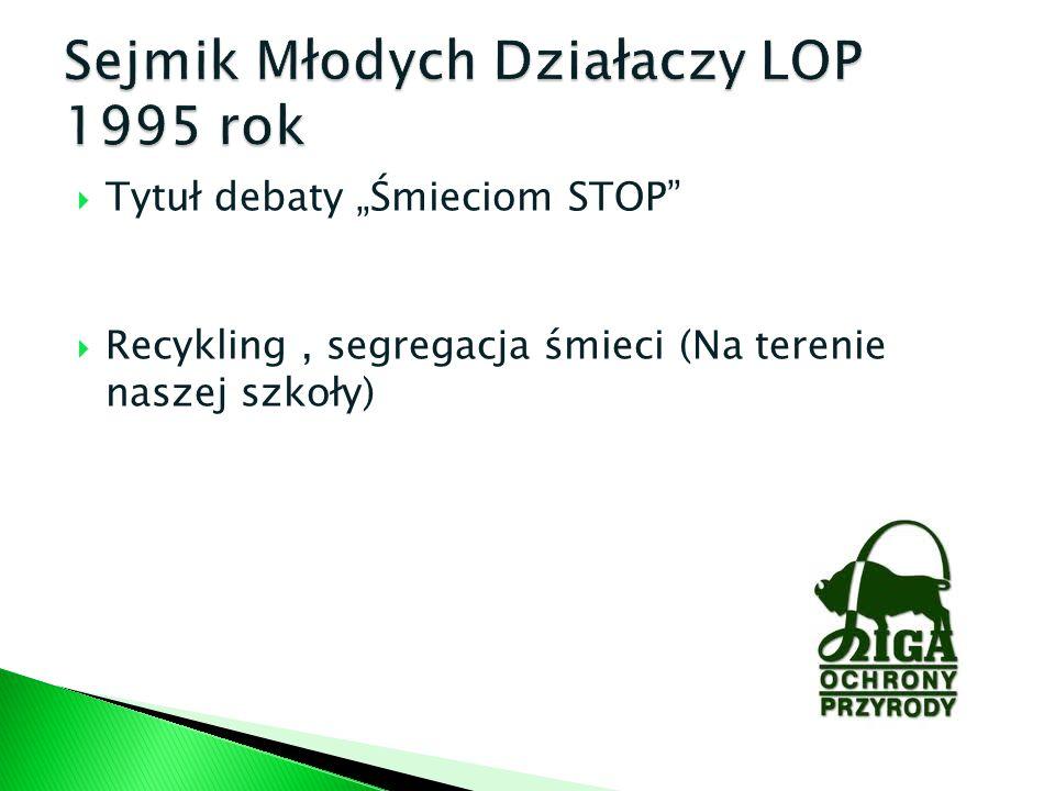 Tytuł debaty Śmieciom STOP Recykling, segregacja śmieci (Na terenie naszej szkoły)