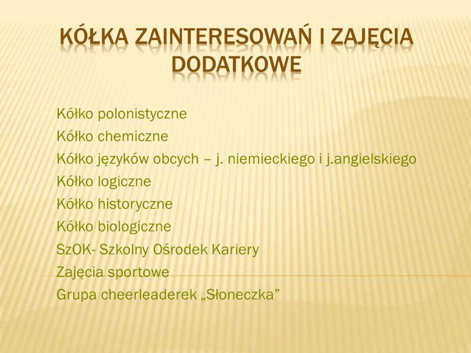 Kółko polonistyczne Kółko chemiczne Kółko języków obcych – j.