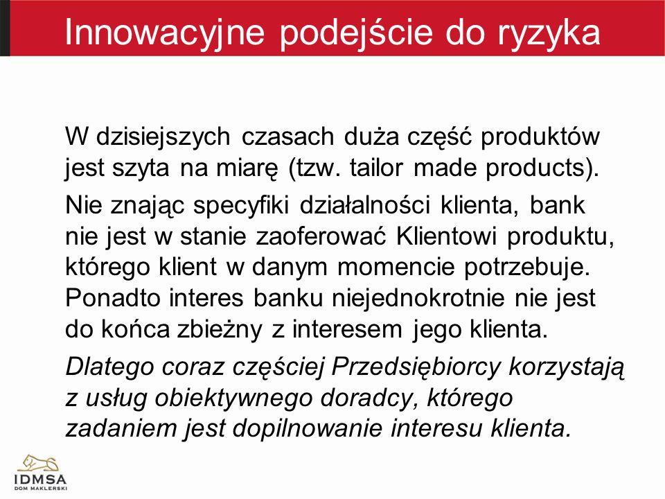 Innowacyjne podejście do ryzyka W dzisiejszych czasach duża część produktów jest szyta na miarę (tzw.