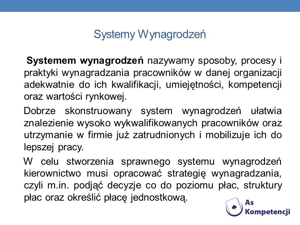 Systemy Wynagrodzeń Systemem wynagrodzeń nazywamy sposoby, procesy i praktyki wynagradzania pracowników w danej organizacji adekwatnie do ich kwalifik