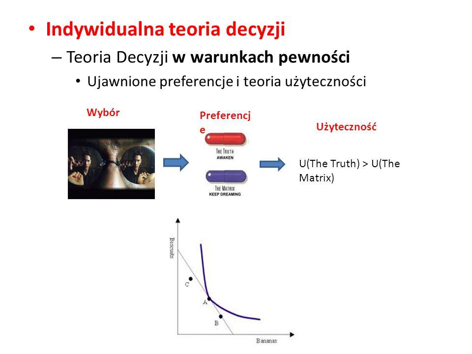 Indywidualna teoria decyzji – Teoria Decyzji w warunkach pewności Ujawnione preferencje i teoria użyteczności U(The Truth) > U(The Matrix) Wybór Preferencj e Użyteczność