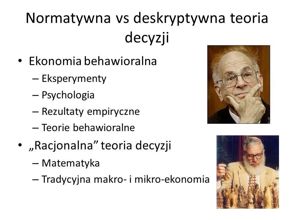 Normatywna vs deskryptywna teoria decyzji Ekonomia behawioralna – Eksperymenty – Psychologia – Rezultaty empiryczne – Teorie behawioralne Racjonalna teoria decyzji – Matematyka – Tradycyjna makro- i mikro-ekonomia