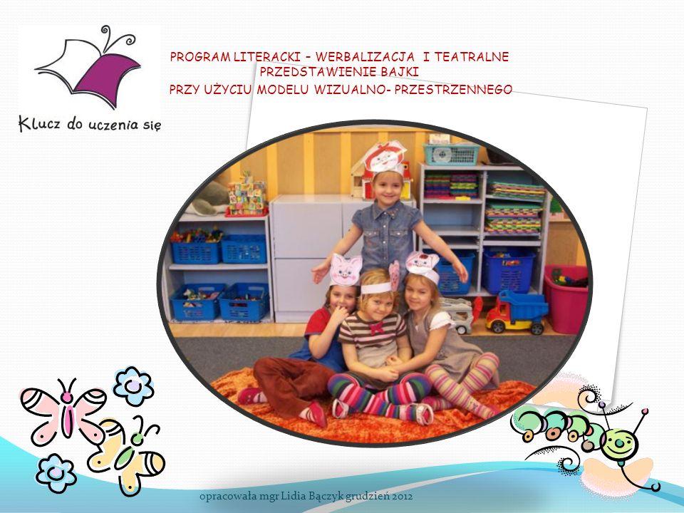 PROGRAMU LITERACKI - korzyści dla dziecka: wzbogaca słownictwo rozwija wyobraźnię rozwija spostrzegawczość, koncentrację uwagi, doskonali pojęcia matematyczne odczuwa radość z działania rozwija umiejętność słuchania rozwija umiejętność komunikacji, samoregulacji, uczy się systematyczności rozbudza ciekawość poznawczą - korzyści dla nauczyciela: systematyzuje pracę (schemat pracy z tekstem literackim) rozwija ekspresję, kreatywność stanowi drogę do sukcesu dziecka przynosi satysfakcję z realizacji podnosi atrakcyjność pracy z dzieckiem przystępność realizacji wzbogaca warsztat pracy daje bogatą bazę dydaktyczną (gotowe scenariusze, pomoce do zajęć) opracowała mgr Lidia Bączyk grudzień 2012