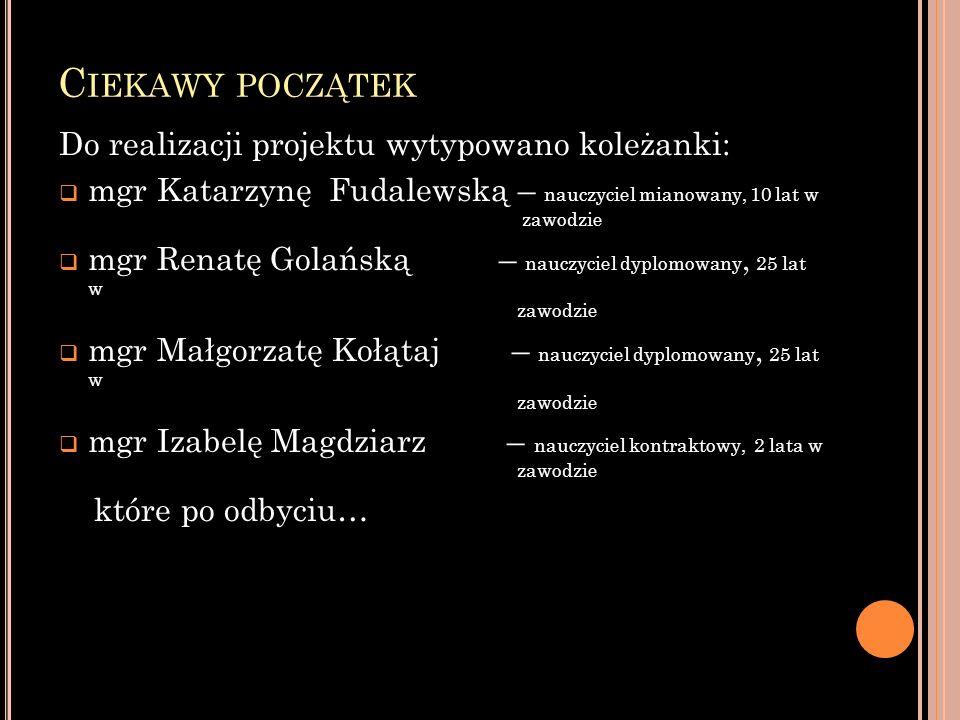 C IEKAWY POCZĄTEK Do realizacji projektu wytypowano koleżanki: mgr Katarzynę Fudalewską – nauczyciel mianowany, 10 lat w zawodzie mgr Renatę Golańską
