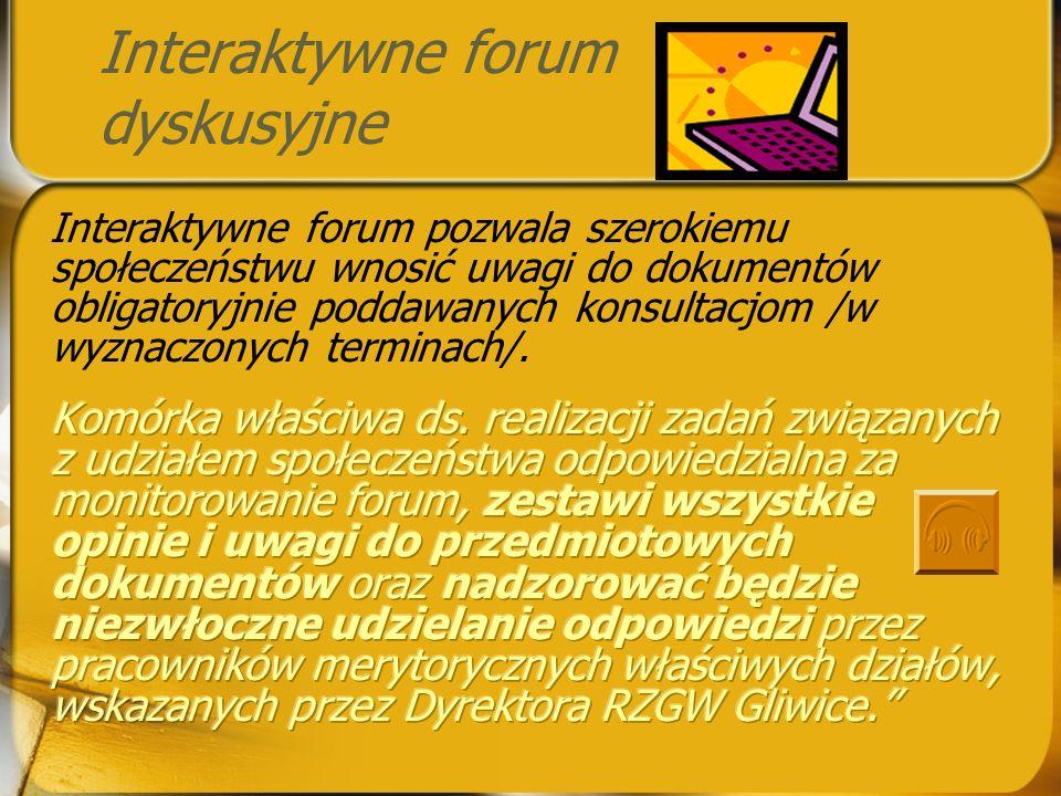 Forum dyskusyjne na stronie internetowej RZGW Gliwice charakteryzuje się: możliwością rejestracji wraz z aktywacją konta użytkownika, pozwalającą na w