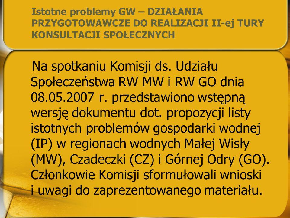 Pierwsze spotkanie Krajowego Forum Wodnego 3 kwietnia 2007r. WARSZAWA – DELEGACI Rad RGWRW MW i GO oraz Komisji ds. Udziału Społeczeństwa (US ) Każda