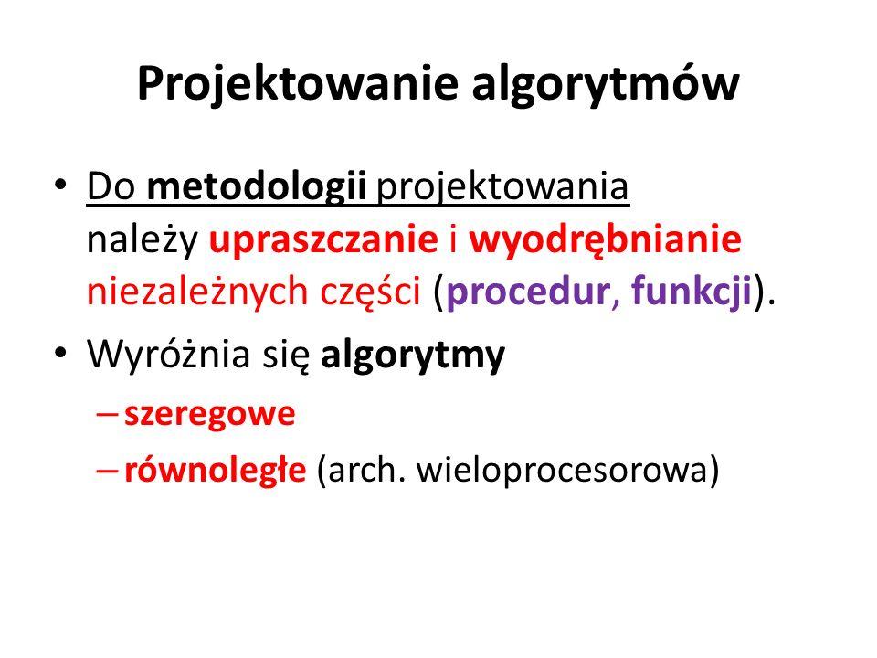Projektowanie algorytmów Do metodologii projektowania należy upraszczanie i wyodrębnianie niezależnych części (procedur, funkcji). Wyróżnia się algory