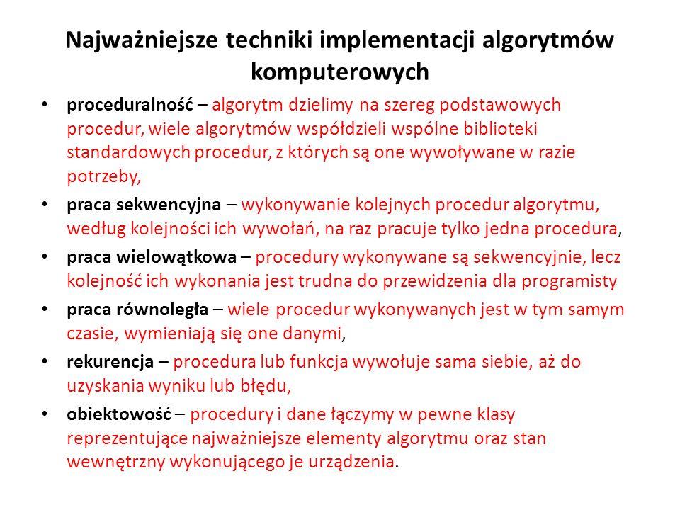 Najważniejsze techniki implementacji algorytmów komputerowych proceduralność – algorytm dzielimy na szereg podstawowych procedur, wiele algorytmów wsp