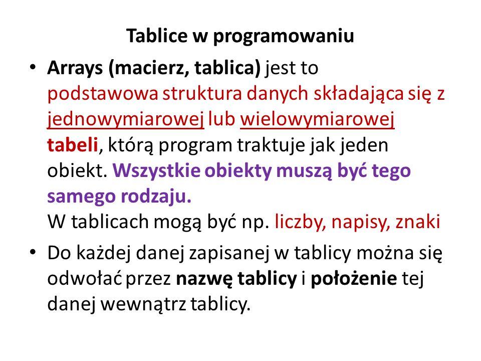 Tablice w programowaniu Arrays (macierz, tablica) jest to podstawowa struktura danych składająca się z jednowymiarowej lub wielowymiarowej tabeli, któ