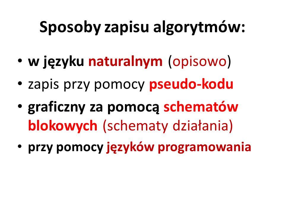 Sposoby zapisu algorytmów: w języku naturalnym (opisowo) zapis przy pomocy pseudo-kodu graficzny za pomocą schematów blokowych (schematy działania) pr