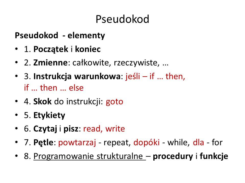 Pseudokod Pseudokod - elementy 1. Początek i koniec 2. Zmienne: całkowite, rzeczywiste, … 3. Instrukcja warunkowa: jeśli – if … then, if … then … else