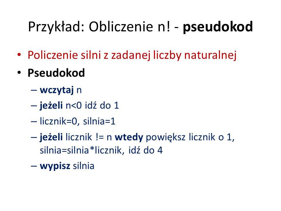 Przykład: Obliczenie n! - pseudokod Policzenie silni z zadanej liczby naturalnej Pseudokod – wczytaj n – jeżeli n<0 idź do 1 – licznik=0, silnia=1 – j