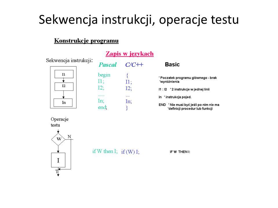 Sekwencja instrukcji, operacje testu