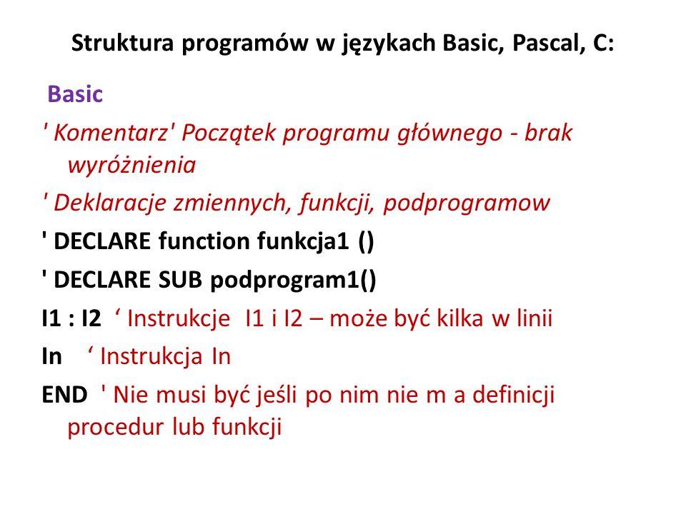 Struktura programów w językach Basic, Pascal, C: Basic ' Komentarz' Początek programu głównego - brak wyróżnienia ' Deklaracje zmiennych, funkcji, pod