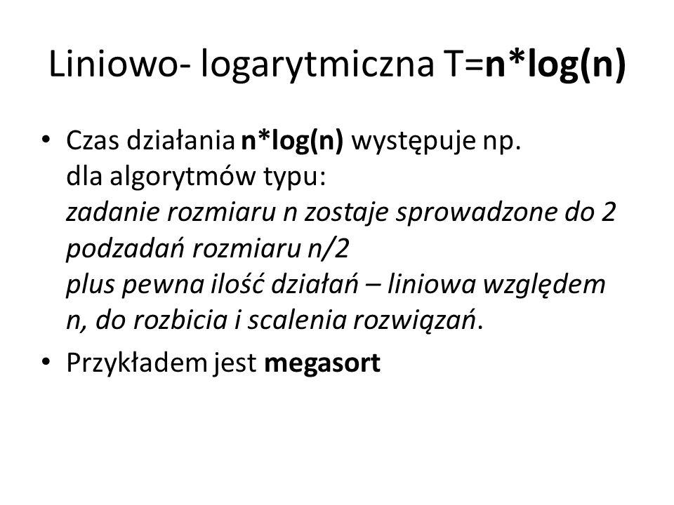 Liniowo- logarytmiczna T=n*log(n) Czas działania n*log(n) występuje np. dla algorytmów typu: zadanie rozmiaru n zostaje sprowadzone do 2 podzadań rozm
