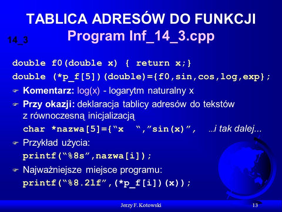 Jerzy F. Kotowski 13 TABLICA ADRESÓW DO FUNKCJI Program Inf_14_3.cpp double f0(double x) { return x;} double (*p_f[5])(double)={f0,sin,cos,log,exp}; F