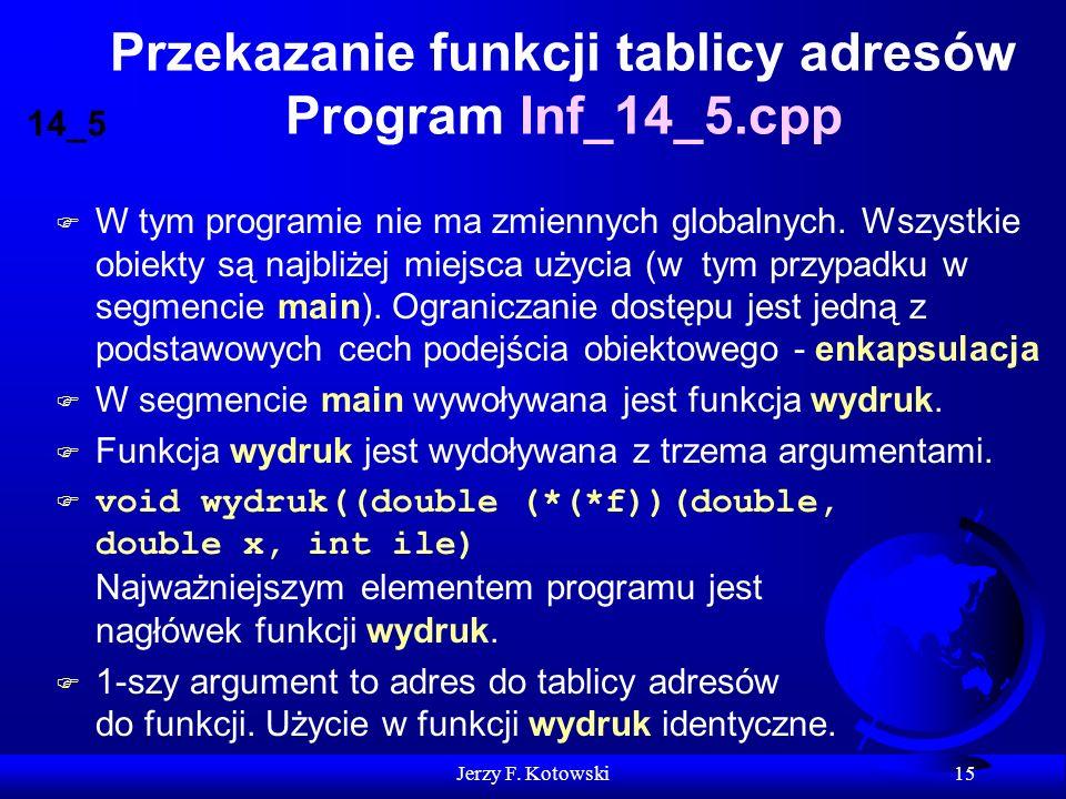 Jerzy F. Kotowski 15 Przekazanie funkcji tablicy adresów Program Inf_14_5.cpp F W tym programie nie ma zmiennych globalnych. Wszystkie obiekty są najb