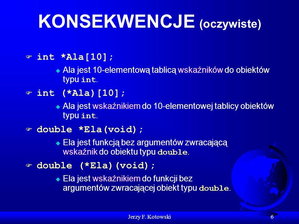 Jerzy F. Kotowski 6 KONSEKWENCJE (oczywiste) int *Ala[10]; Ala jest 10-elementową tablicą wskaźników do obiektów typu int. int (*Ala)[10]; Ala jest ws
