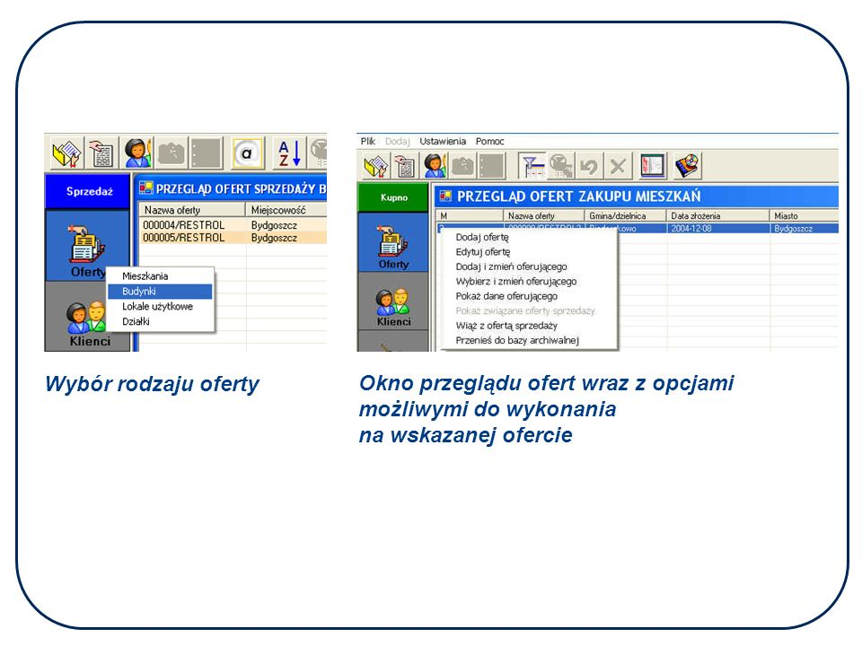 Wybór rodzaju oferty Okno przeglądu ofert wraz z opcjami możliwymi do wykonania na wskazanej ofercie