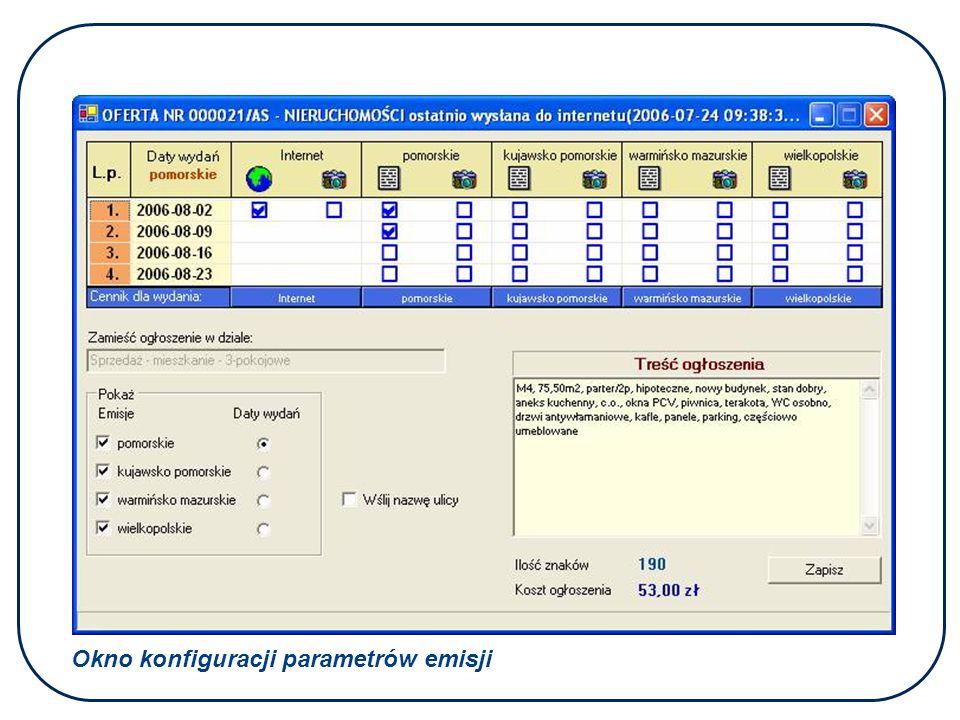 Okno konfiguracji parametrów emisji