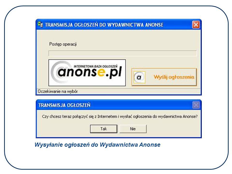 Wysyłanie ogłoszeń do Wydawnictwa Anonse