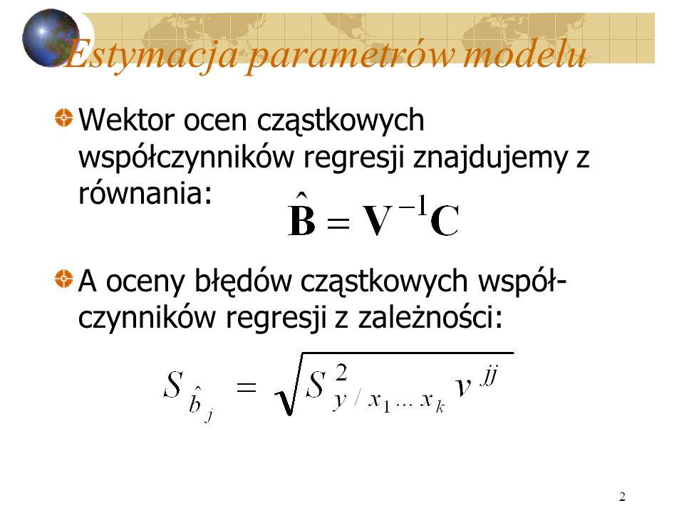 2 Estymacja parametrów modelu Wektor ocen cząstkowych współczynników regresji znajdujemy z równania: A oceny błędów cząstkowych współ- czynników regresji z zależności: